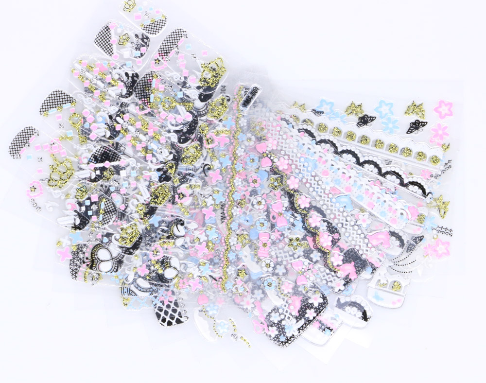 30SheetS White 3D Nail Art Stickers Necklace Jewelry Adhesive Nail Tips Decals Beauty Creative Nail Art Tattoo Tools NTL 37 in Stickers Decals from Beauty Health
