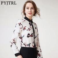 PYJTRL 2017 Autumn New Womens 100 Natural Silkworm Silk Casual Shirt Fashion Birds Print Brand Office