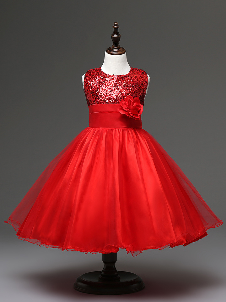 2018 Children Formal Dresses For Girls Aged 10 Years For Kids Party Size 3 4 5 6 7 8 9 Flower Girl Dress Wedding Red To Enjoy High Reputation In The International Market Girls' Clothing Dresses