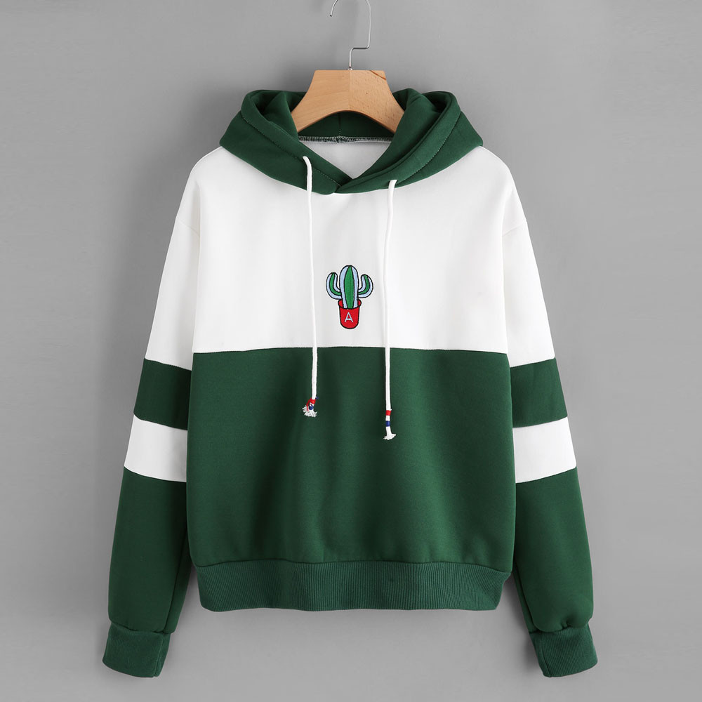 2018 Autumn Winter New Fashion Womens Long Sleeve Cactus Print Hoodie Sweatshirt Hooded Pullover Tops Blouse Popular for Youngth