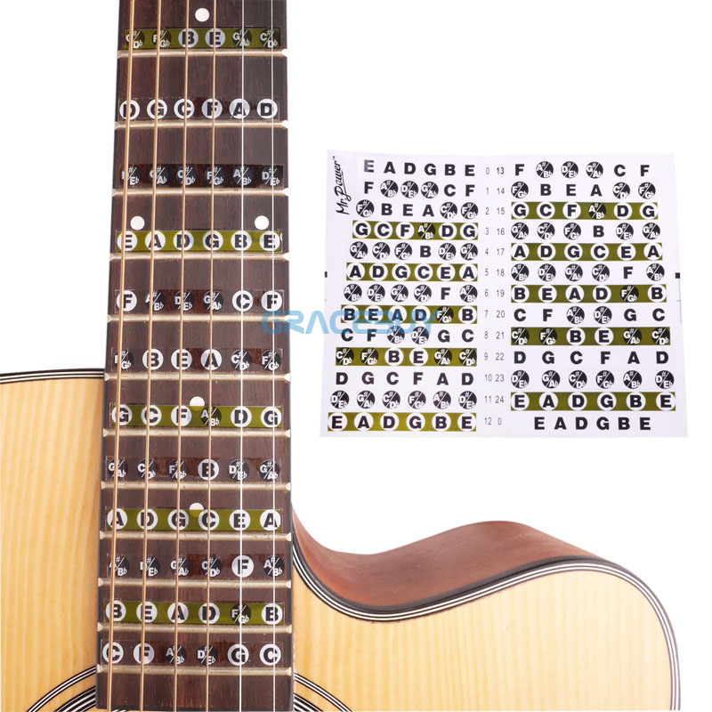 Acoustic Electric Guitar Fretboard Note Music Sticker For Sale, Decal Neck Fret Sticker On Guitarra