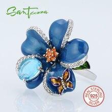 Anillos de plata para Las Mujeres Flor Azul Mini Mariposa Esmalte Anillo de Diamante de LA CZ 925 Anillo de Plata Esterlina Femenina HECHA A MANO