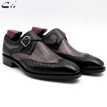 Chaussures en cuir de veau peint à la main, Double bretelles moine, gris et noir, boucle pleine grains, respirantes, pour hommes, cie MS03