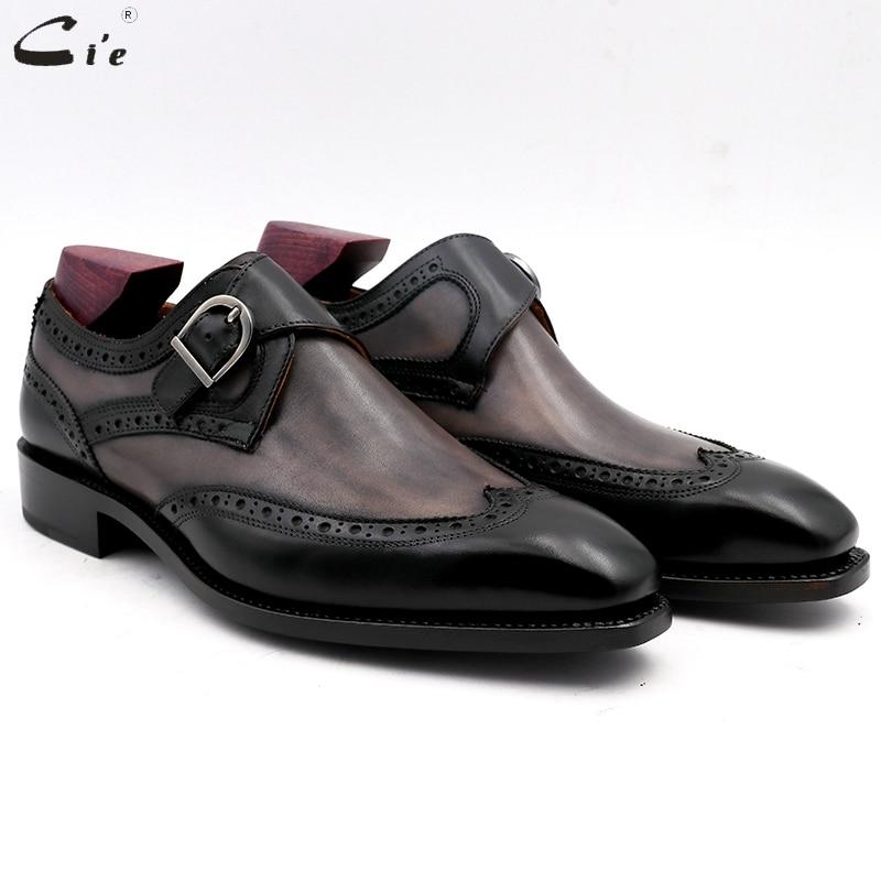Cie bout carré peint à la main patine gris noir Double moine sangles boucle pleine fleur cuir de veau respirant cuir hommes chaussure MS03