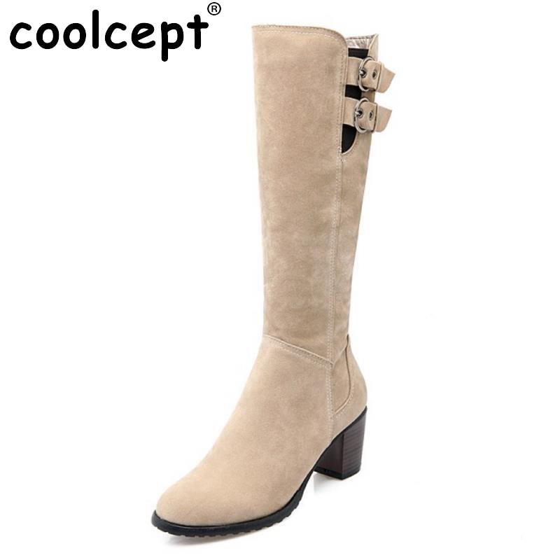 ФОТО Women Fashion Zipper Knee Boots Woman Square Heel Knight Boot Ladies Brand Warm Fur Winter Heeled Footwear Shoes Size 34-43