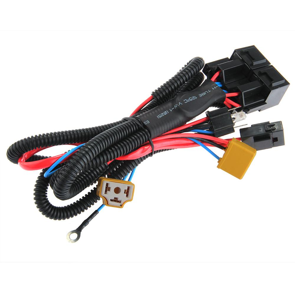 Carchet Universal H4 9003 Headlight Booster Wire Cable Harness Wiring Connector Tool Ceramic Fused Relay Bulb