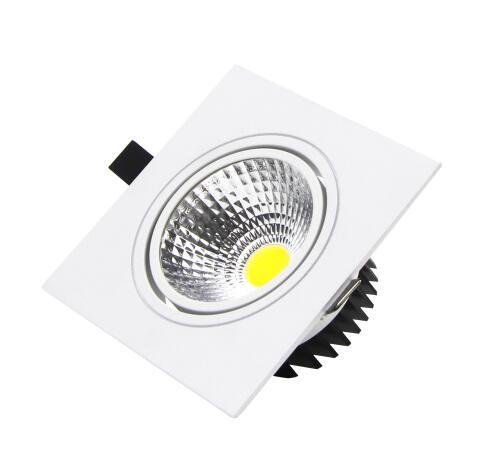 1 հատ սպիտակ քառակուսի Դարբնոցային լուսավորություն լուսավորված COB Առաստաղի բծերի լուսավորություն 7w 9w 12w 85w65V առաստաղով փչացած լույսեր Ներքին լուսավորություն