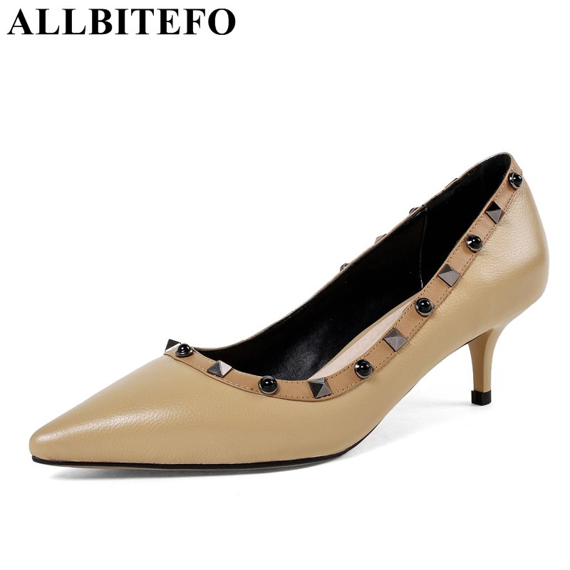 ALLBITEFO fashion rivets genuine leather pointed toe thin heel women pumps new spring girls high heels sexy high heel shoes 2017 new sexy pointed toe high heel women pumps genuine leather spring summer shoes woman fashion dress party casual shoes pumps