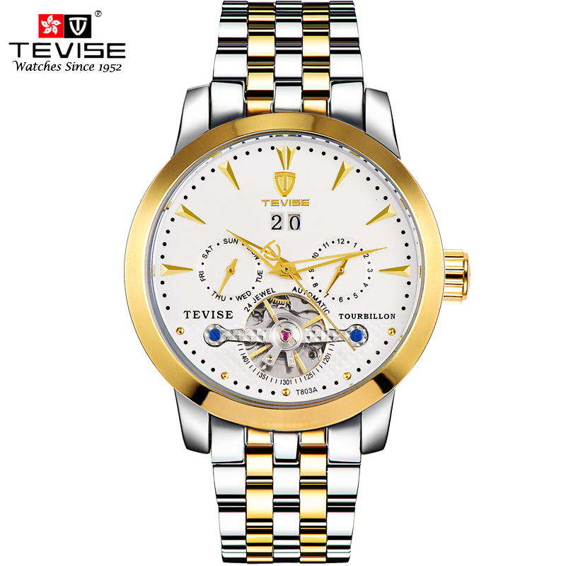 TEVISE Automatic Mechanical Watches Men Self Wind Auto Date Week Tourbillon Silver Stainless Steel Luminous Wristwatches T803A tevise men automatic self wind gola stainless steel watches luxury 12 symbolic animals dial mechanical date wristwatches9055g