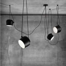 Loft vintage industrial iron drum pendant lights black suspension luminaire  bar living room hanging light lamp fixtures
