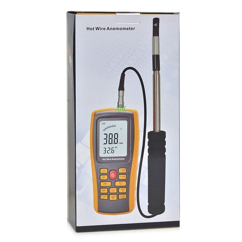 Anémomètre à fil chaud professionnel 30 m/s anémomètre à débit d'air numérique rétroéclairé Portable indicateur de vitesse du vent Interface USB