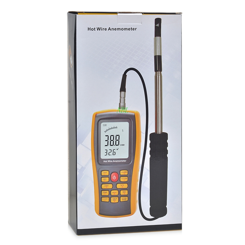 Professional Hot Wire Anemometer 30m/s Digital Air Flow Anemometer Portable Backlight Wind Speed Gauge Meter USB Interface benetech gm8903 portable hot wire digital anemometer 0 30m s air temperature meter 0 45c wind speed flow tester