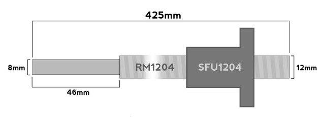 Best quality 1pc Ball screw SFU1204 - L425mm + 1pc RM1204 Ballscrew Ballnut for 12mm screw rail