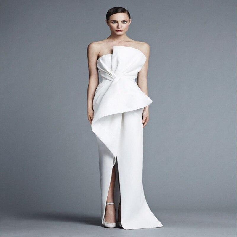 Sexy vestido de noiva Prom Party Gown Strapless Sheath White Satin Long with Tiers Vestido De Festa 2018   bridesmaid     dresses
