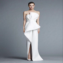 Sexy Backless Prom Dresses Party Gowns Strapless Sheath White Satin Long Dress with Tiers Vestido De Fiesta 2015