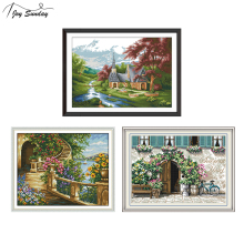 Joy Sunday Landscape Painting Cross Stitch Fabric Printed Ca