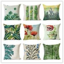 2017 home decor cushion cotton linen throw pillow colored plant flower printed comfortable seat back cushions pillowcase 45x45cm