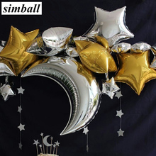 5pcs Wedding Party Decoration 18inch Star Helium Foil Balloons 36inch Moon Shape Foil Ballon Baby Shower Birthday Party Supplies