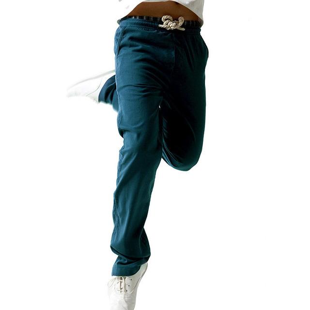 Nueva Ropa De Verano Pantalones Casuales Hombres Sólido Fino Respirable Joggers Pantalones Rectos de Algodón de Lino