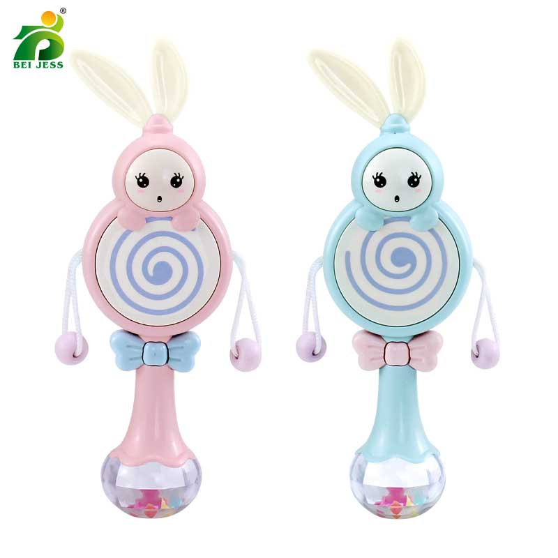 Rabbit Baby Rattles Mobiles Music Rhythm Light Hand Bed Bell Soft Teether Education 0-12 Months Toy for Newborn Gift BEI JESS baby rattles toys 8pcs teether music hand shake bed bell newborns plastic animal rattles gift educational baby toys 0 12 months
