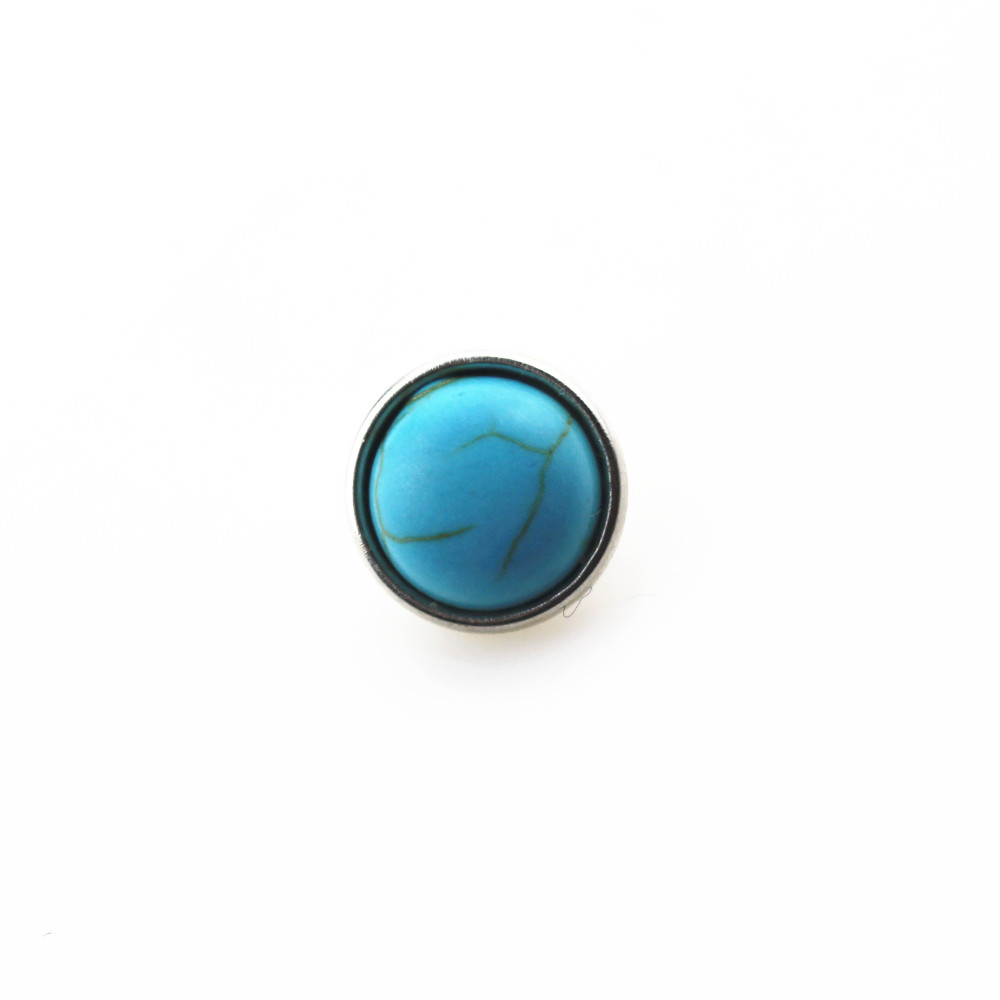 New arrive 20pcs/lot turquoise stone snap buttons for 12mm snap button bangle bracelet ginger chunky interchangeable jewelry