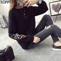 Женщины Свитер 2016 Зима Новая Мода Трикотажные Пуловеры Высокое Качество Твердые Свитера Вышивка Тянуть Femme Sweter Mujer SZQ087