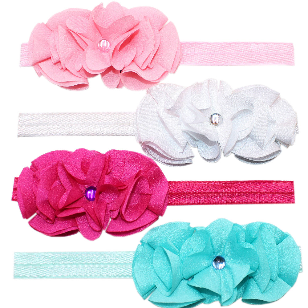 7 Colors Lovely Girls Chiffon Flower Hairband Headwear Rhinestones Headband Hair Band Kids Hair Accessories