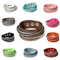 8SEASONS Snap Jewelry Velvet Fashion Bracelets Suede Silver Tone Wrap Slake Leather With Rhinestone Couple Jewelry 39.0cm long