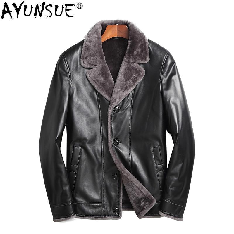 AYUNSUE Genuine Sheepskin Leather Jacket Men Real Wool Fur Liner Coat Autumn Winter Plus Size Coats Chaqueta Cuero Hombre ZL861