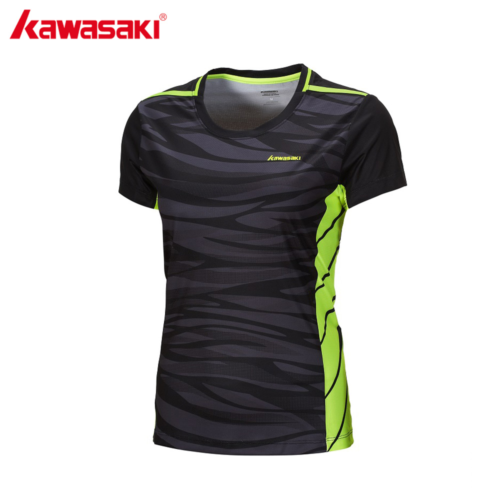 KAWASAKI Quick Dry Badminton Shirts for Ladies Short Sleeve O Neck Tennis T-Shirt Women Sport Clothing Sportswear ST-172022 ms pgm authentic long sleeve t shirt top girls golf polo shirts women quick dry clothes tt design apparel trainning shirts 2018