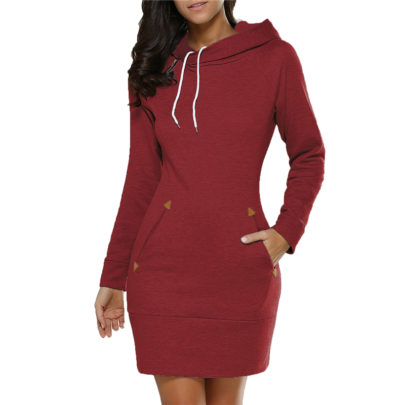 Winter hooded dress 2019 European and American temperament S-2XL plus size red green black long sleeve fashion mini dress JD405