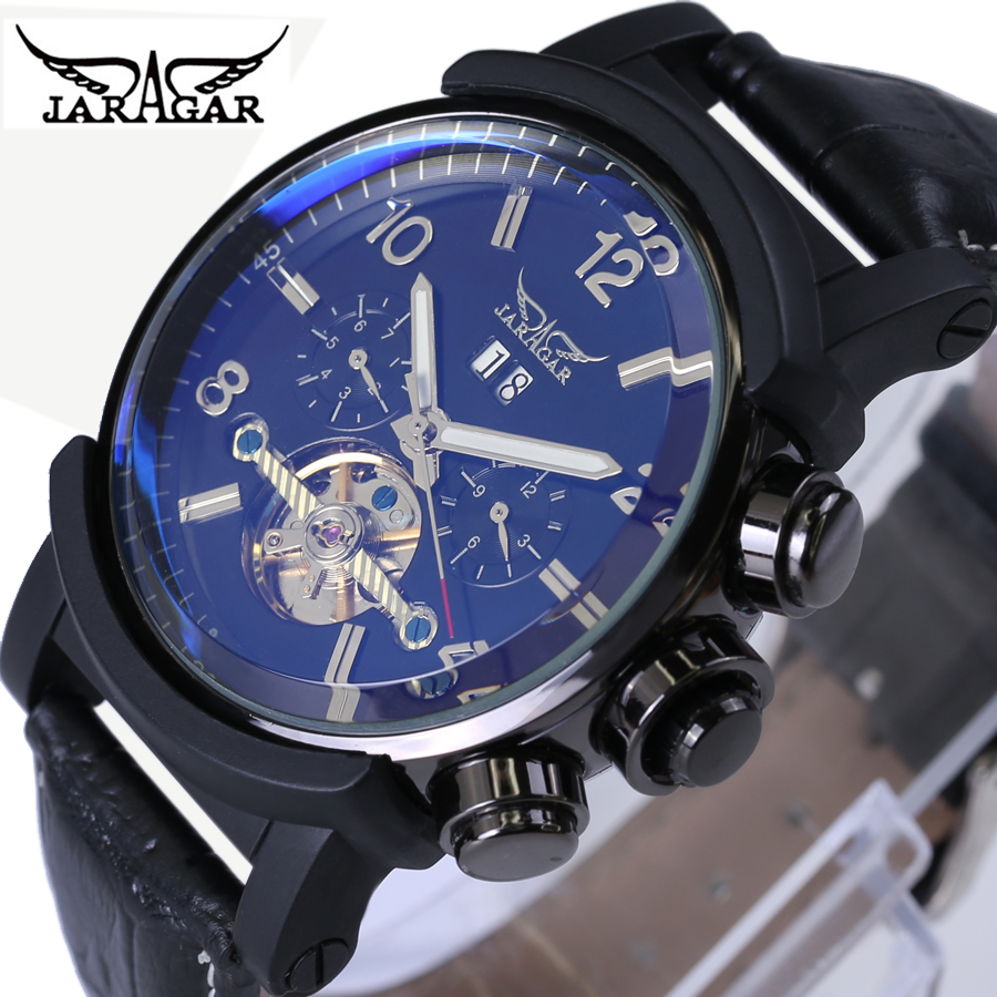Jaragar Automatic Mechanical Watches Blue Glass Dial Men's Warches Top Brand Luxury Leather Strap Fashion Casual Men Wristwatch top luxury brand men watches automatic double tourbillon mechanical wristwatch stainless steel strap blue dial binger b 8606a
