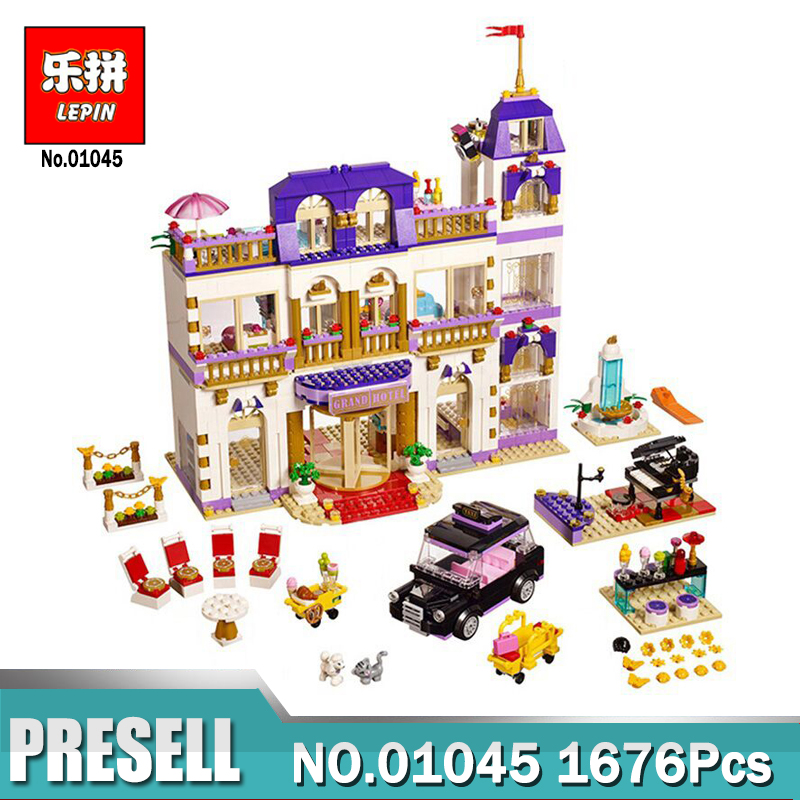 Lepin 01045 Girls Friends Heartlake Grand Hotel Building Block DIY Bricks Compatible With 41101 Model for Girls Gift lepin 22001 pirate ship imperial warships model building block briks toys gift 1717pcs compatible legoed 10210