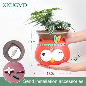 Image 5 - Creative Indoor Wall Mounted Hanging Animal Pots Planter Succulents Elephant Owl Fox Deer Bear Pendant Vase Home Wall Decoration