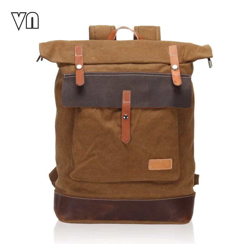 ФОТО 2016 Fashion Designer Vintage Men's Backpacks Canvas Women Laptop Backpack School Backpack Travel Shoulder Bags Leather Rucksack