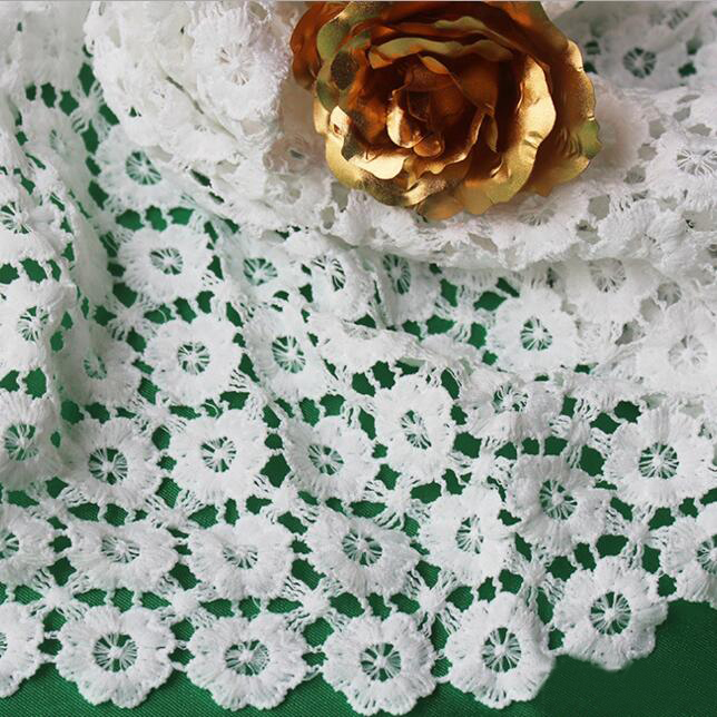 2Yards 2018 New Arrival Nigerian Lace Fabrics White African Cord Lace Fabrics High Quality Guipure French Lace Milk Silk Materia