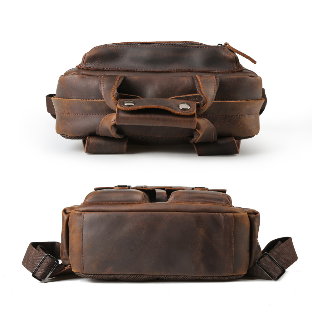 Ретро мужской рюкзак из натуральной кожи большой емкости для ноутбука школьная сумка рюкзак мужские коричневые сумки на ремне кожаные доро... - 5