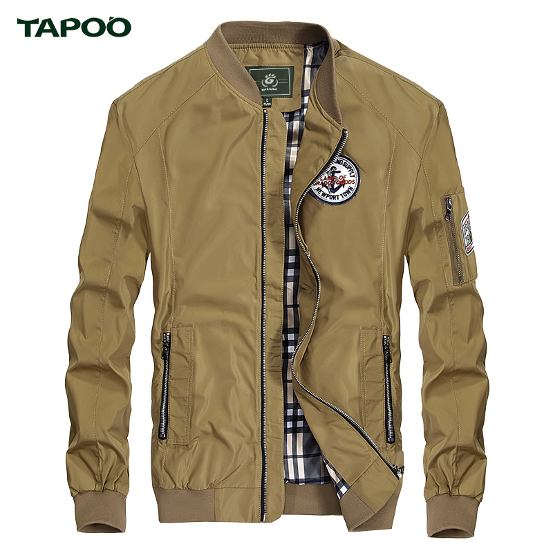 TAPOO Brand Winter Men's Classic Pilot Jackets Men Fashion Baseball Caots High Quality Man Khaki Flight Bomber Outwear TP7104003