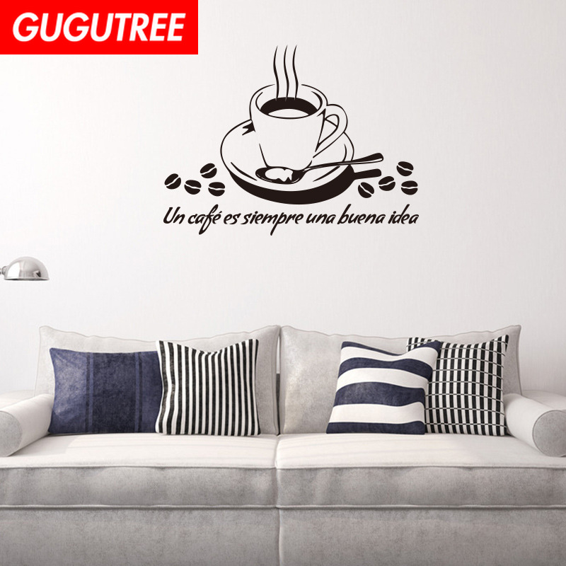 Decorate black coffee letter art wall sticker decoration Decals mural painting Removable Decor Wallpaper LF-158