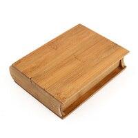 Ретро дизайн книги брелок ювелирные изделия хранения бамбука поле ручной работы Винтаж деревянный сундук Дело Классический подарок древес...