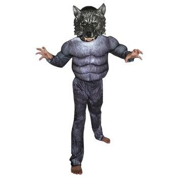 Disfraz de terror de hombre lobo para Halloween, disfraz aterrador en 3D para niños, disfraces de Carnaval para niños y niñas