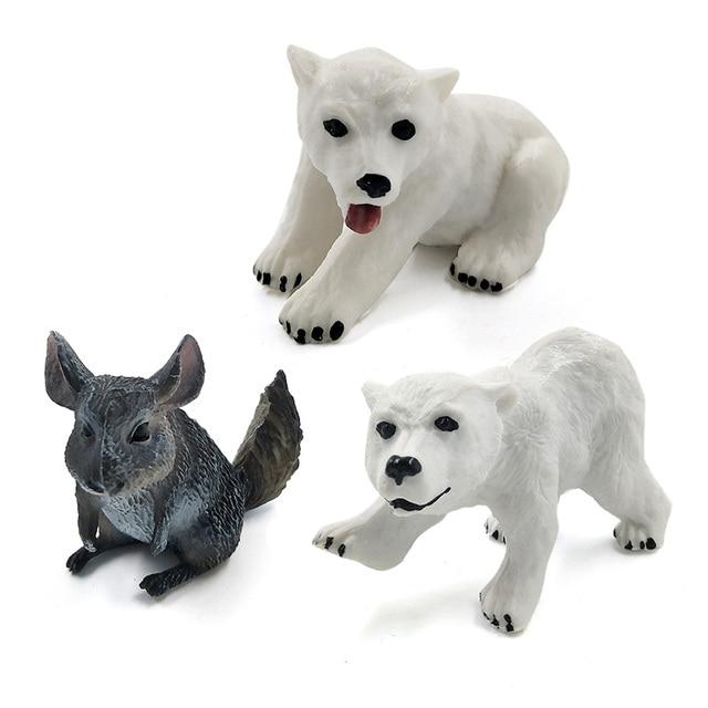Mini Elephant Pig Chinchilla Mouse Chimpanzee Polar bear cow Animal model figurine home decor miniature decoration accessories 6