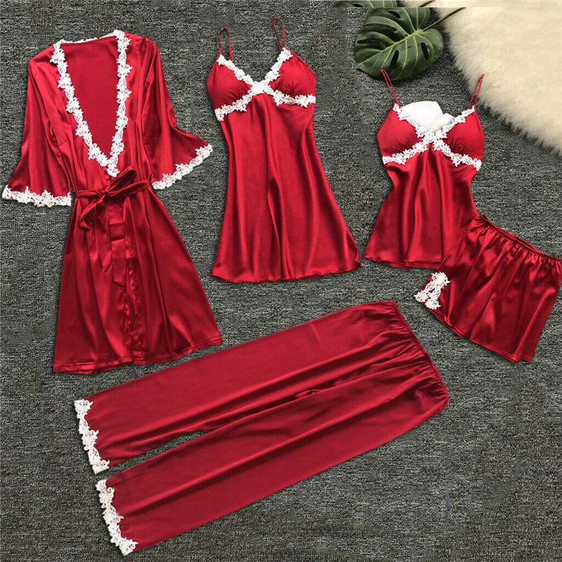 US Sexy Lingerie Silk Robe Dress Pajamas Women's Nightdress Nightgown 4PCS Sleepwear