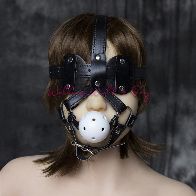 Adult Sex Mask With Blindfold Leather Harness Gag Bondage Mouth Ball Gag Fetish Slave Gag Sex Toys For Couples Flirting Cosplay