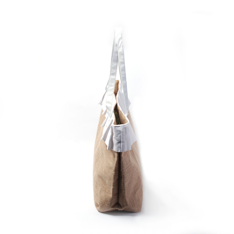 Handtasche 7 Dom106227 Mit Zoll 1 Weißen Großhandel Große Jute 15 Rüschen Einkaufstasche 14 Beschichtet 6 Rohlinge 1nqwFRxfCH
