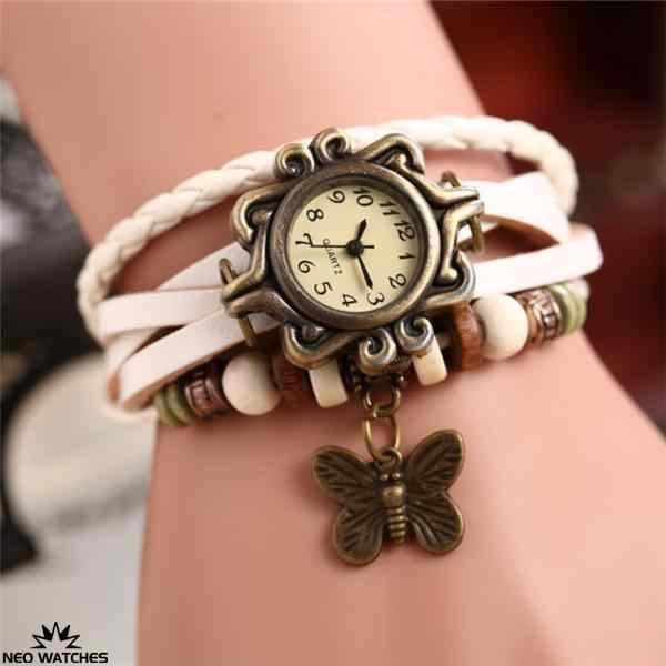 מכירה לוהטת נשים ליידי צבעים רב עור רטרו בציר פרפר Weave גלישת באיכות גבוהה קוורץ שעון יד צמיד