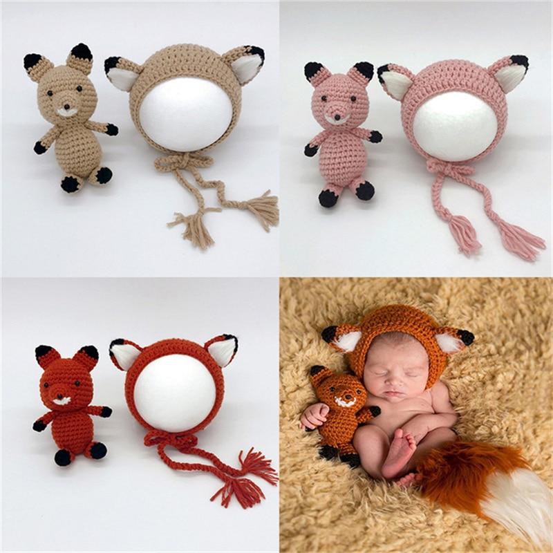 Fox diseño recién nacido traje apoyos de la fotografía hecha a mano ...