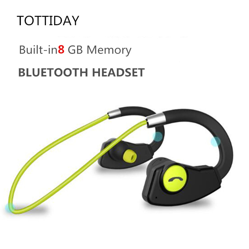 TOTTIDAY Sweatproof 8GB Bluetooth Earphone MP3 Music Player Wireless Sport Earbuds Headset with Mic Handsfree for Mobile Phones askmeer 8gb mp3 music player headsets wireless bluetooth sport earphone sweatproof earbuds headset with microphone handsfree
