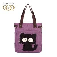 Coofit女の子キャンバスハンドバッグmultipockeかわいいスタイルカットキティショルダーバッグラインストーンプレミアムleisueレディース旅行ショッピングバッグ