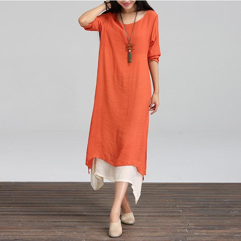 Vestidos 2018 Spring Autumn Women Retro Long Maxi Dress Casual Loose O Neck Long  Sleeve Asymmetrical Plus Size Oversized 5XL 68e2e2647299